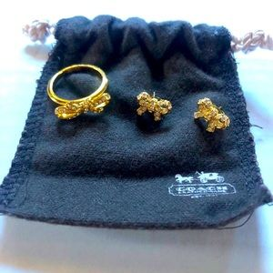 Coach Ring and Earring Bow Set